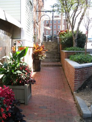 On Ceres Street, an alley chock full of restaurants and charm in Portsmouth, New Hampshire, permanent and temporary planters separate the public sidewalk from the adjacent vehicular way.