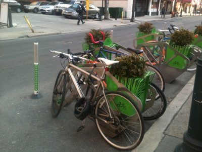 In plant-forward Philadelphia, even bicycle racks provide space for plantings.