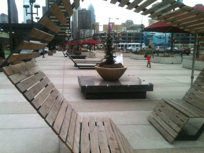 """""""The Porch"""" at Philadelphia's 30th Street Train Station has transformed a formerly barren space with creative seating options, charging stations, and massive planters."""